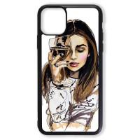 Чехол для Iphone 11 Девушка с бокалом
