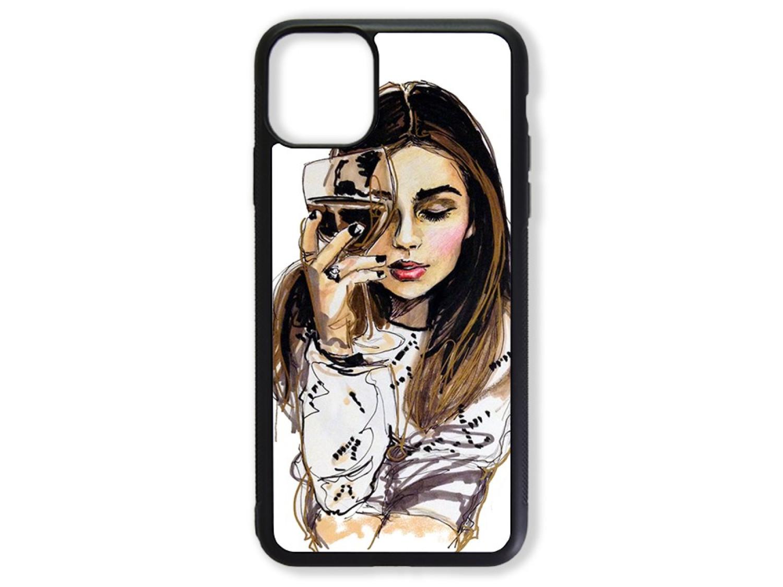 Чехол для Iphone 11 Pro Девушка с бокалом