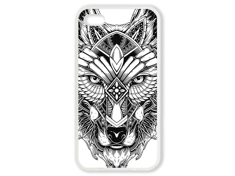 Чехол для Iphone 4S Волк чёрно-белый