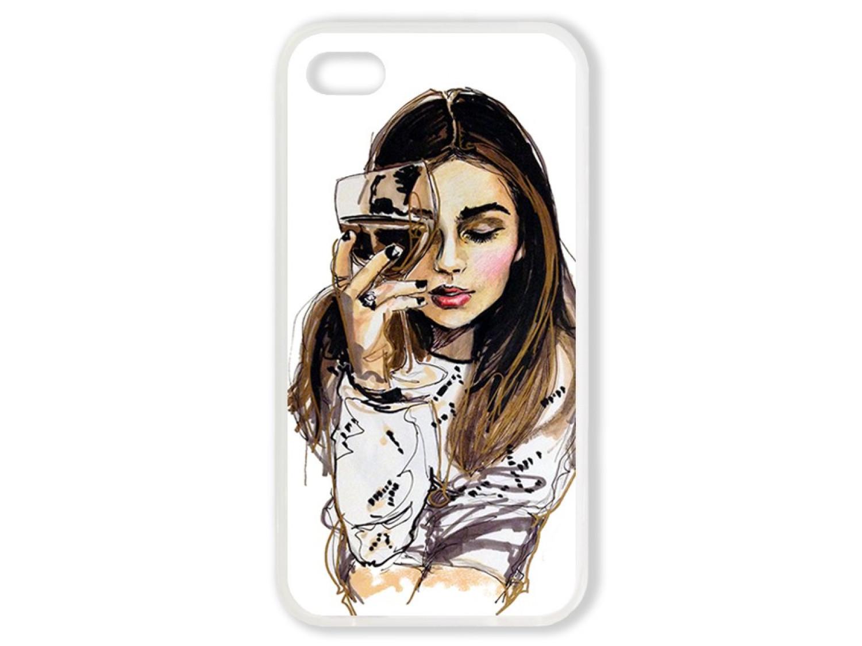 Чехол для Iphone 4S Девушка с бокалом