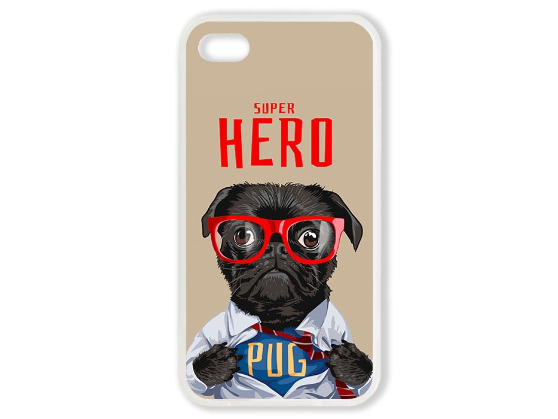 Чехол для Iphone 4S Мопс супер герой