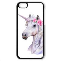 Чехол для Iphone 5C Единорог с розами