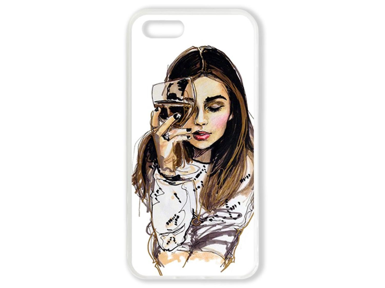 Чехол для Iphone 5 Девушка с бокалом