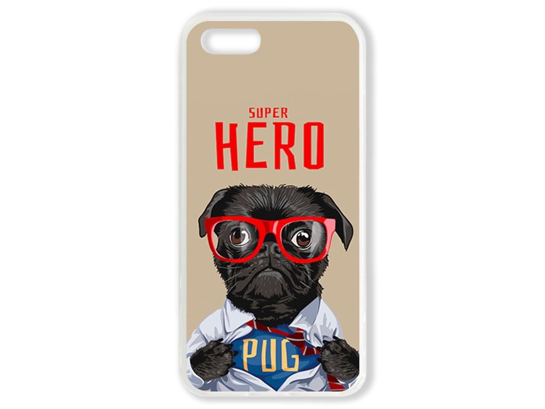 Чехол для Iphone 5 Мопс супер герой