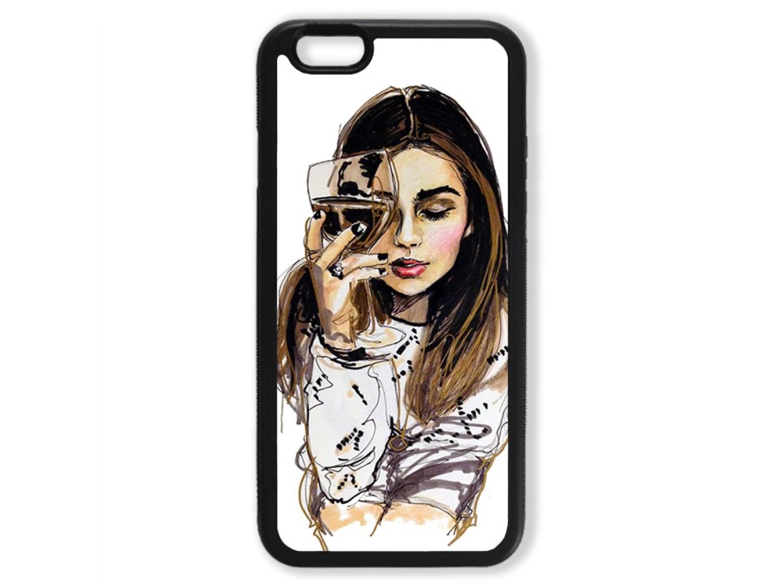 Чехол для Iphone 6 Девушка с бокалом