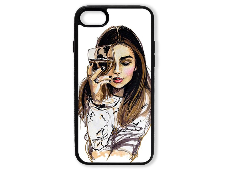 Чехол для Iphone 8 Девушка с бокалом