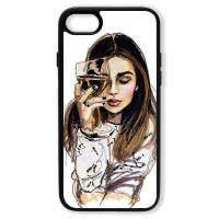 Чехол для Iphone 7 Девушка с бокалом