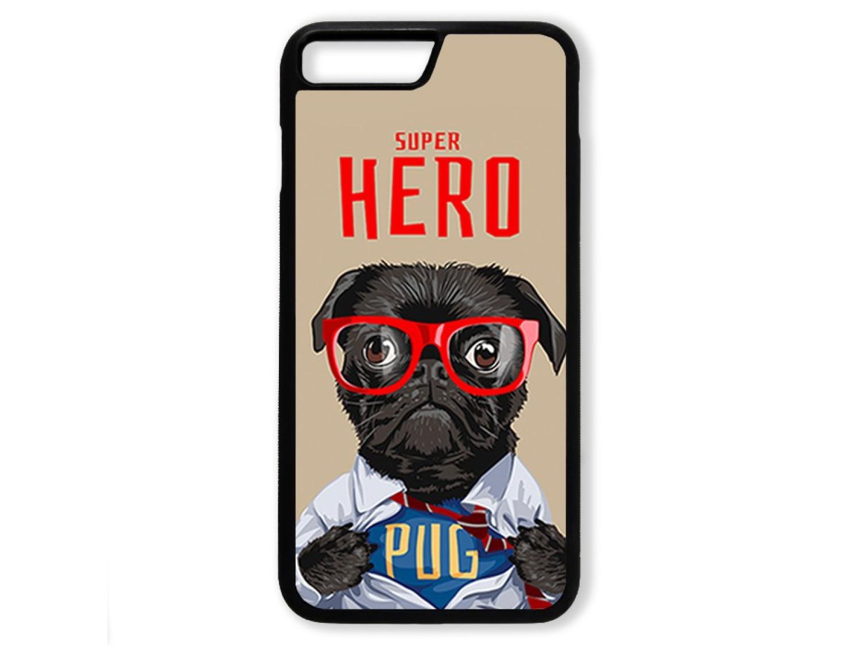 Чехол для Iphone 8+ Мопс супер герой
