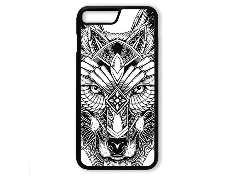 Чехол для Iphone 8+ Волк чёрно-белый
