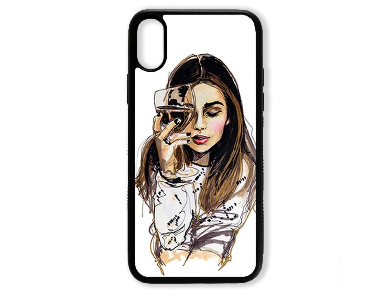 Чехол для Iphone X Девушка с бокалом