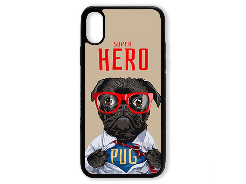 Чехол для Iphone XS Мопс супер герой