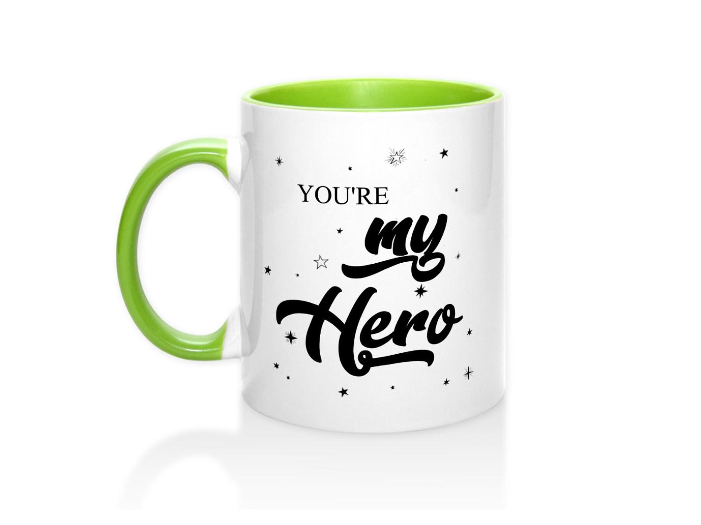 Кружка с цветной ручкой и цветная внутр You are my hero