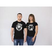 Парные футболки премиум Лев и Львица