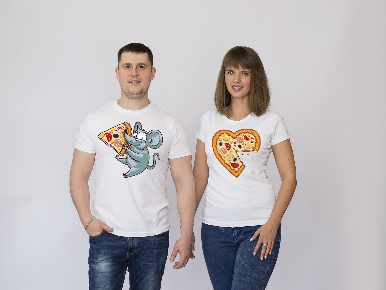 Парные футболки Мышка с пиццей